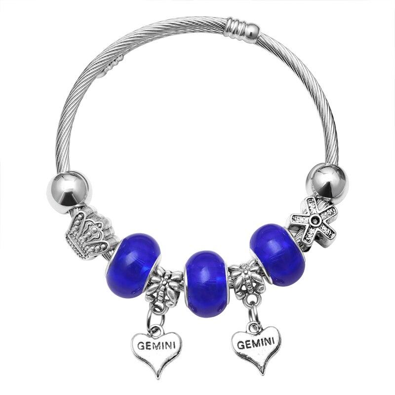 Pink Crystal Charm Silver Bracelets & Bangles for Women  Beads Silver Bracelet Femme Jewelry 11