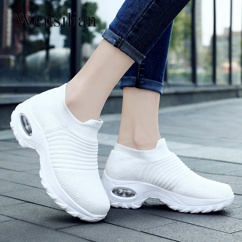 Spring Platform Sneakers Vulcanize Shoes Womens Sock Shoe Mesh Ladies Casual Shoes Slip On Shoes Basket Femme Zapatos De Mujer