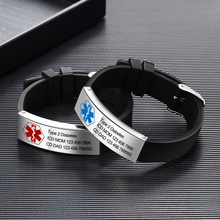 Free Engraving Medical Bracelets for Men Women Sport Emergency Diabetes Adjustable Silicone ID Bracelets Wristbands