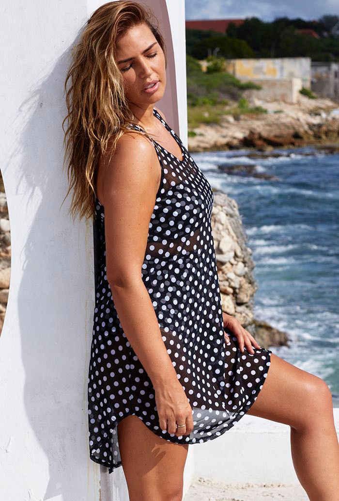 여름 섹시한 여성 폴카 도트 수영복 비키니 커버 쉬폰 비치 민소매 드레스 플러스 사이즈
