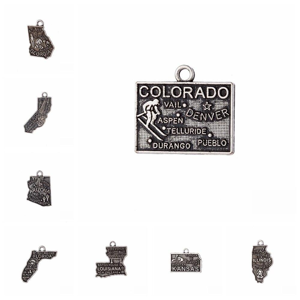 10pcs Charms Jewelry Findings US State Map Kansas Louisiana Illinois Alaska Iowa Indiana Florida Arizona California Pendant(China)