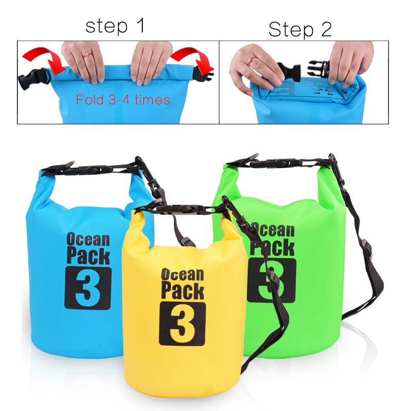 2L 3L 5L  PVC Waterproof Bags Dry Bag Water Resistant Camping Swimming Storage Bag Upstream Pouch For Cano Kayak Rafting GMT601