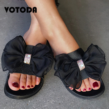 Summer Women Rhinestone Bow Slippers Casual Beach Sandals Female Outdoor Shoes Fashion Flowers Slides Non Slip Flat Flip Flops
