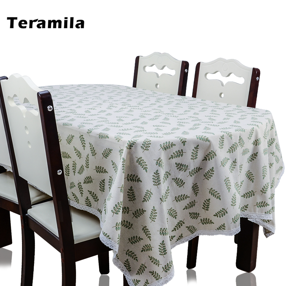 Teramila Thick Tablelcoth Linen With Lace Leaves Design Table Cloth For Home Party Kitchen Rectangular Square Dining Table Cover
