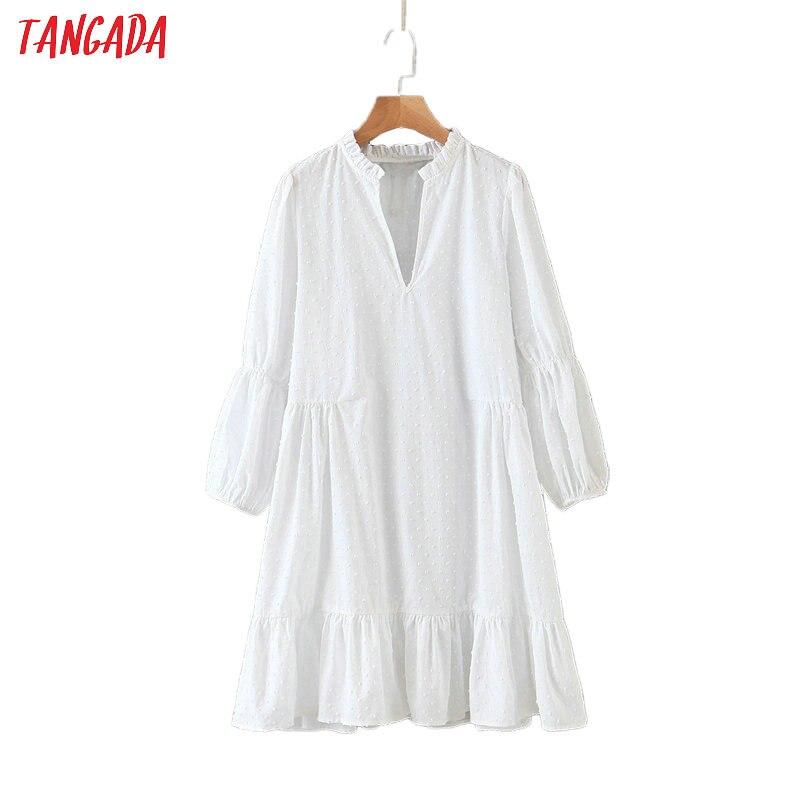 Tangada Fashion Women Solid Dots Embroidery White Dress Long Sleeve Ladies Casual Pleated Mini Dress Vestidos QB126