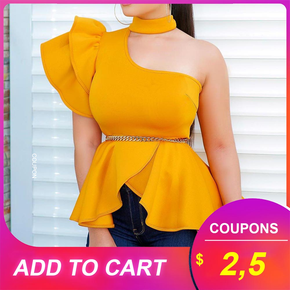Yellow Asymmetric Blouse Women Shirts 2019 Slim Ruffles Short Sleeve Lady Office Stand Collar Plain High Waist Falbala Blouses