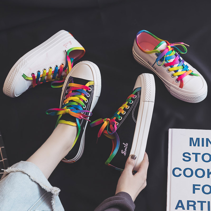 Rainbow Flat Women Canvas Shoes 2019 Trend New Fashion Shoelace Sneakers Shallow Wild Light Wild Casual Vulcanized Shoes Women