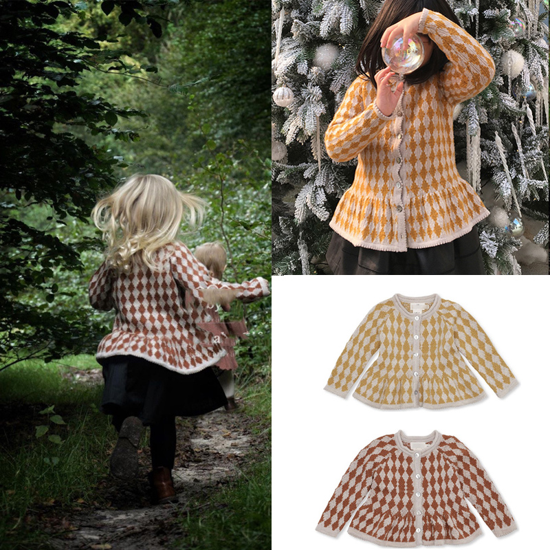 2020 New Autumn Winter KS Kids 20% Wool Sweaters for Girls Cute Diamond Kint Cardigan Baby Child New Fashion Cotton Tops Clothes 1