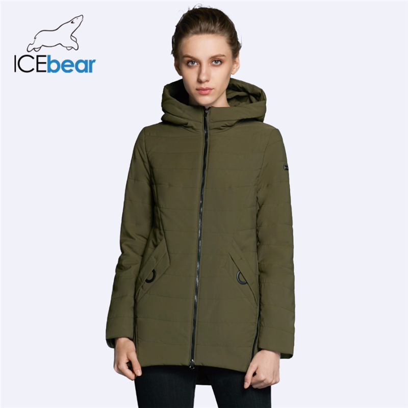 ICEbear 2019 New Women's Jacket Autumn Woman Coat Fashion Female Cotton Denim Color Zipper Design High-quality Coats GWC18135D