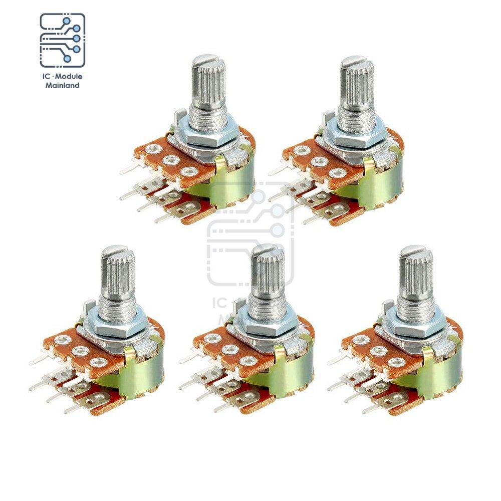 5 шт./лот 1K 5K 10K 50K 100K 500K 1M Ohm 15 мм валовые переменные резисторы двойные линейные 6-контактные роторные конические потенциометры из углеродной п...