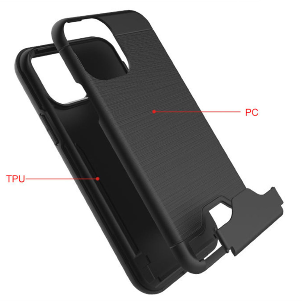 Brushed Armor Card Holder Case for iPhone 11/11 Pro/11 Pro Max 5