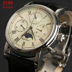 Orologio da Uomo Cronografo Movimento Meccanico Top di Marca di Lusso Movimento Gabbiano Impermeabile Da Polso Da uomo orologi Montre Homme Maschio