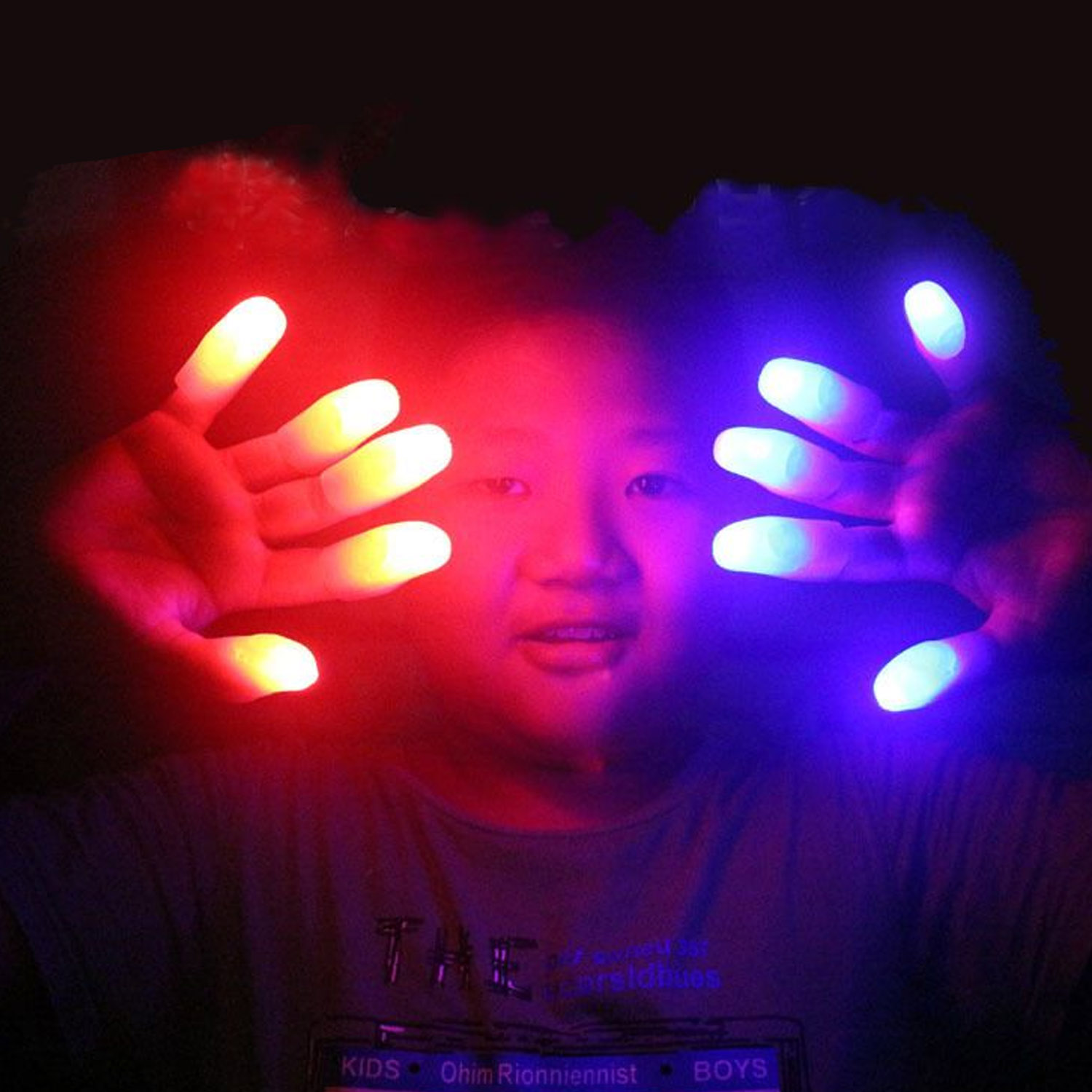 10Pcs LED Light Glowing Finger Thumbs Light Flashing Toy Light Up Glowing Finger Ring Kids Halloween Party Supplies Random Color