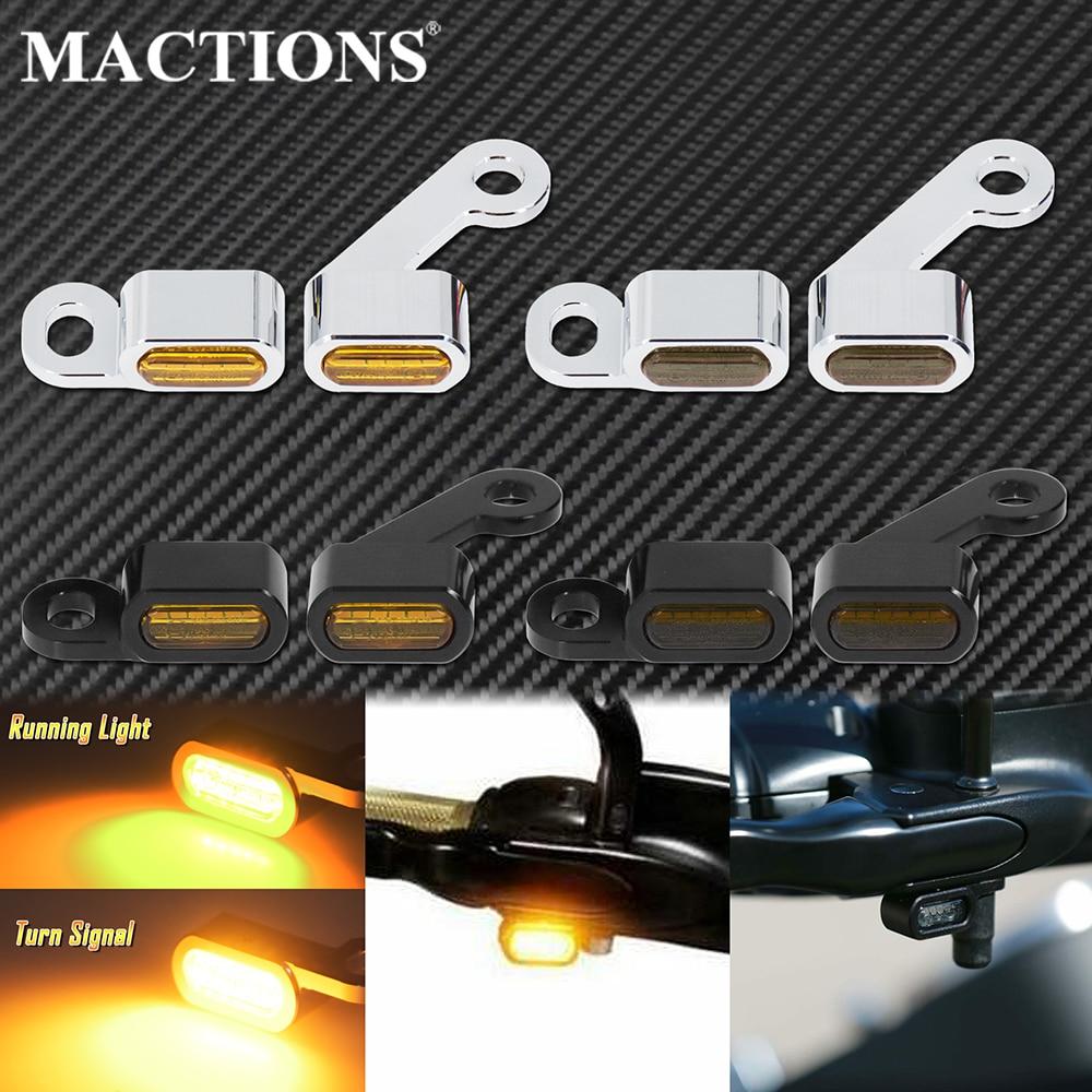 Motorcycle 2Pcs LED Turn Signal Indicators Amber Running Lights Mini Lamp E Mark For Harley Sportster XL883 1200 72 48 2004-2020