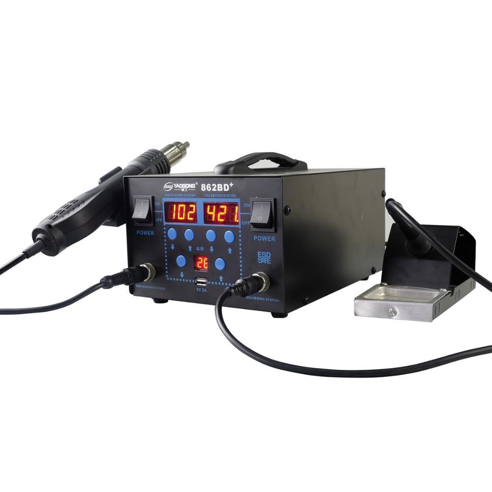 Nastavitelná teplota LCD displeje s displejem 750 W, 862 BD + horkovzdušná pistole pro pájení, pro přepracování IC SMD