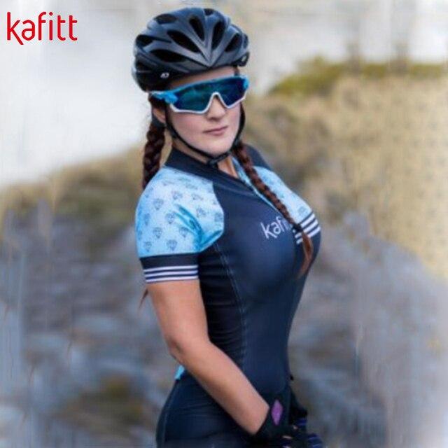 Kafitt verão novo de manga curta ciclismo wear terno macacão feminino triathlon ciclismo wear mountain bike macaquinho 5
