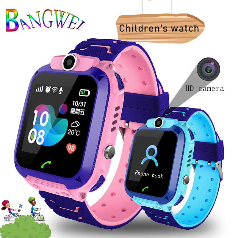 BANGWEI เด็กสมาร์ทนาฬิกาเด็ก SmartWatch กันน้ำนาฬิกาเด็ก SOS Call Finder ตำแหน่ง Locator Tracker Anti Lost Monitor + กล่อง
