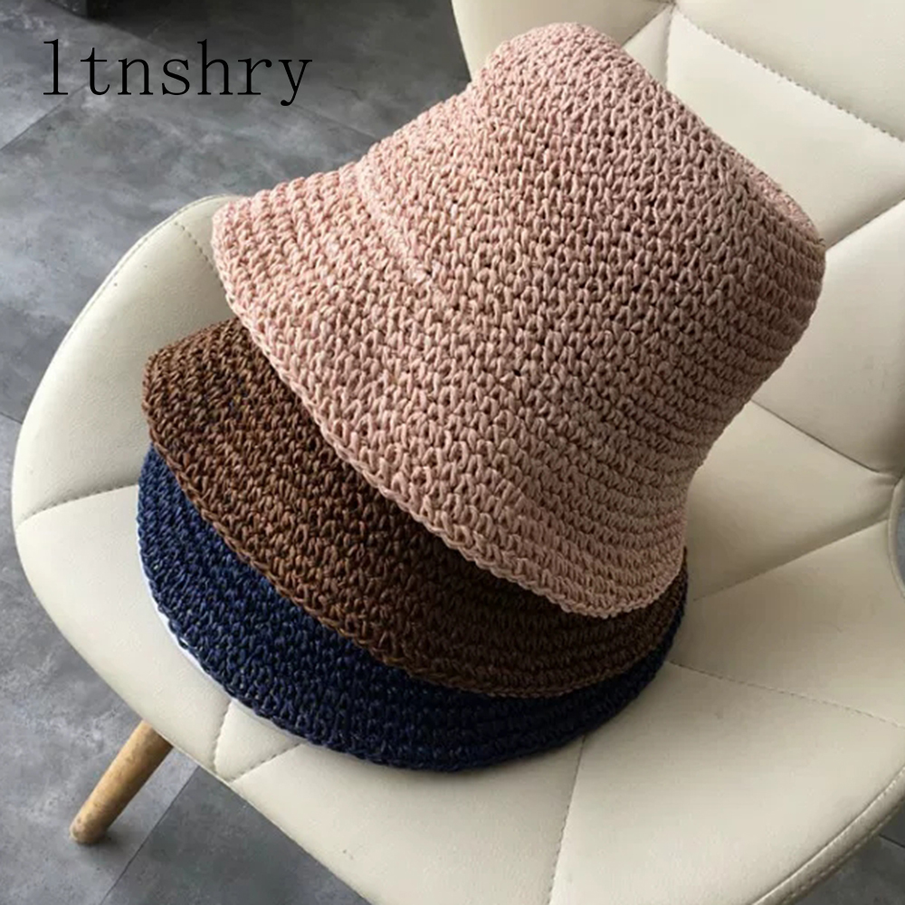 2019 Summer Women's Sun Hat Bucket Cap Breathable Straw Hat Foldable Dome Elegant Fashion Beach Hat Women Sun Protection Caps