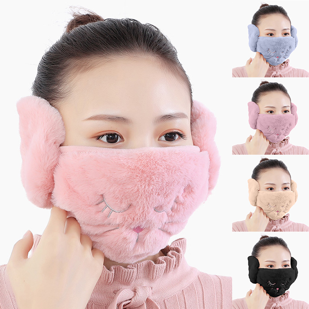 Soft Plush Warm Cycling Face Mask Adult Winter Cartoon Ear Mask Two In One Warm And Dust Proof Washable Reusable Facemask #ST|Cycling Face Mask|   - AliExpress