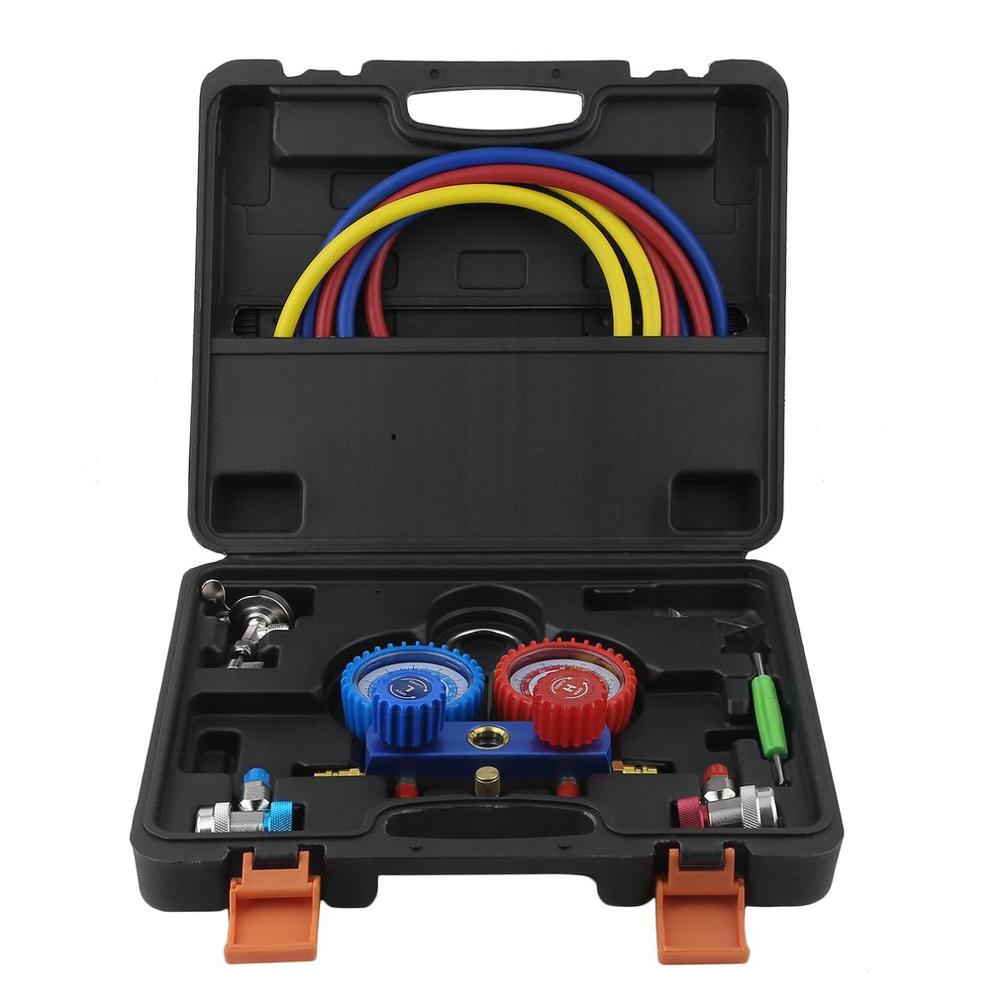 Air Conditioning AC Diagnostic High Low Pressure Manifold Gauge Tool Set 2-Way Fitting Assistant For R134a R22 R12 R502