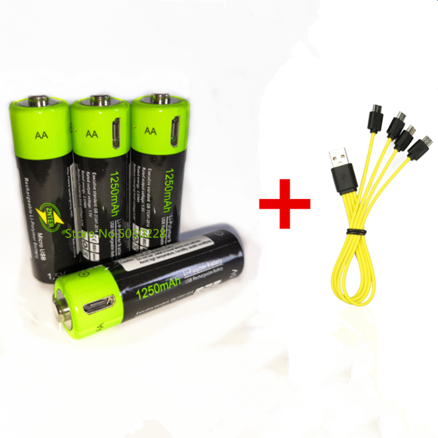 Hot sale ZNTER <font><b>1.5V</b></font> <font><b>AA</b></font> rechargeable <font><b>battery</b></font> 1250mAh USB rechargeable <font><b>lithium</b></font> polymer <font><b>battery</b></font> fast charging via Micro USB cable image