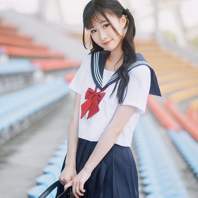 Japanese Kawaii School Student Girl Sailor Uniform Skirt Sweater Outfit Costume