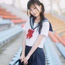 Japanese Women Girl JK High School Sailor Uniform Blouse Top & Short Skirt Kawaii Cute Outfit  Japan College Cosplay Costume Set