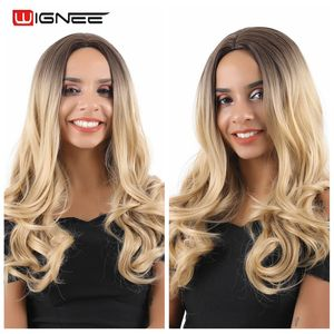 Image 4 - Wignee Middle Part Ombre Blonde Long Wavy Hair Synthetic Wig For Women Natural Heat Resistant Daily/Party Fiber Natural Hair Wig