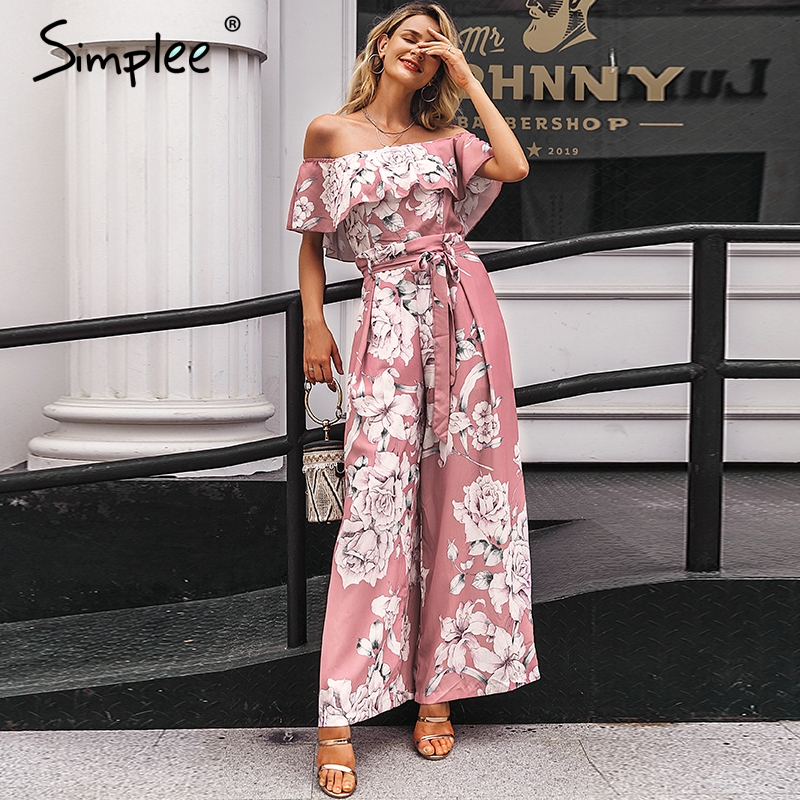 Simplee Bohemian Floral Print Women Jumpsuit Elegant Off Shoulder Sashes Ladies Long Jumpsuit Summer Beach Ruffled Playsuit 2019