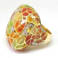 Anillos de dedo de hoja de planta ful de moda anillos de boda de cristal de oro de lujo para mujer joyería nupcial anillos de mujer Z4T411