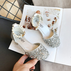 Image 4 - Kids Princess Shoes for Girls Mary Jane Sandals Low Heel Sparkle Rhinestone Dance Shoes 2020 Children Girl Party Dress Shoes