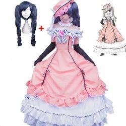 Vestido de dama de renda sem mangas phantomhive, vestido completo de uniforme, cosplay anime, trajes de princesa