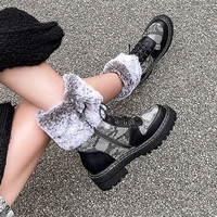 2020 winter genuine leather plush snow boots round toe platform plush warm mid calf women's boots matching plush women's shoes