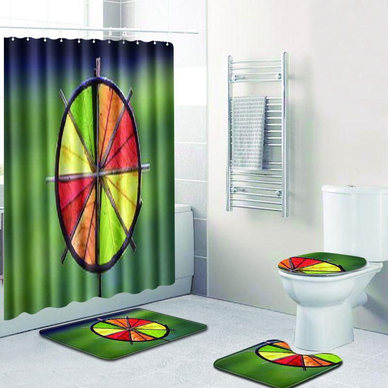 4 pièces/ensemble 3D fleur imprimer imperméable à l'eau moderne rideau de douche pied Pad Polyester bain rideau écran toilette siège couverture décor à la maison