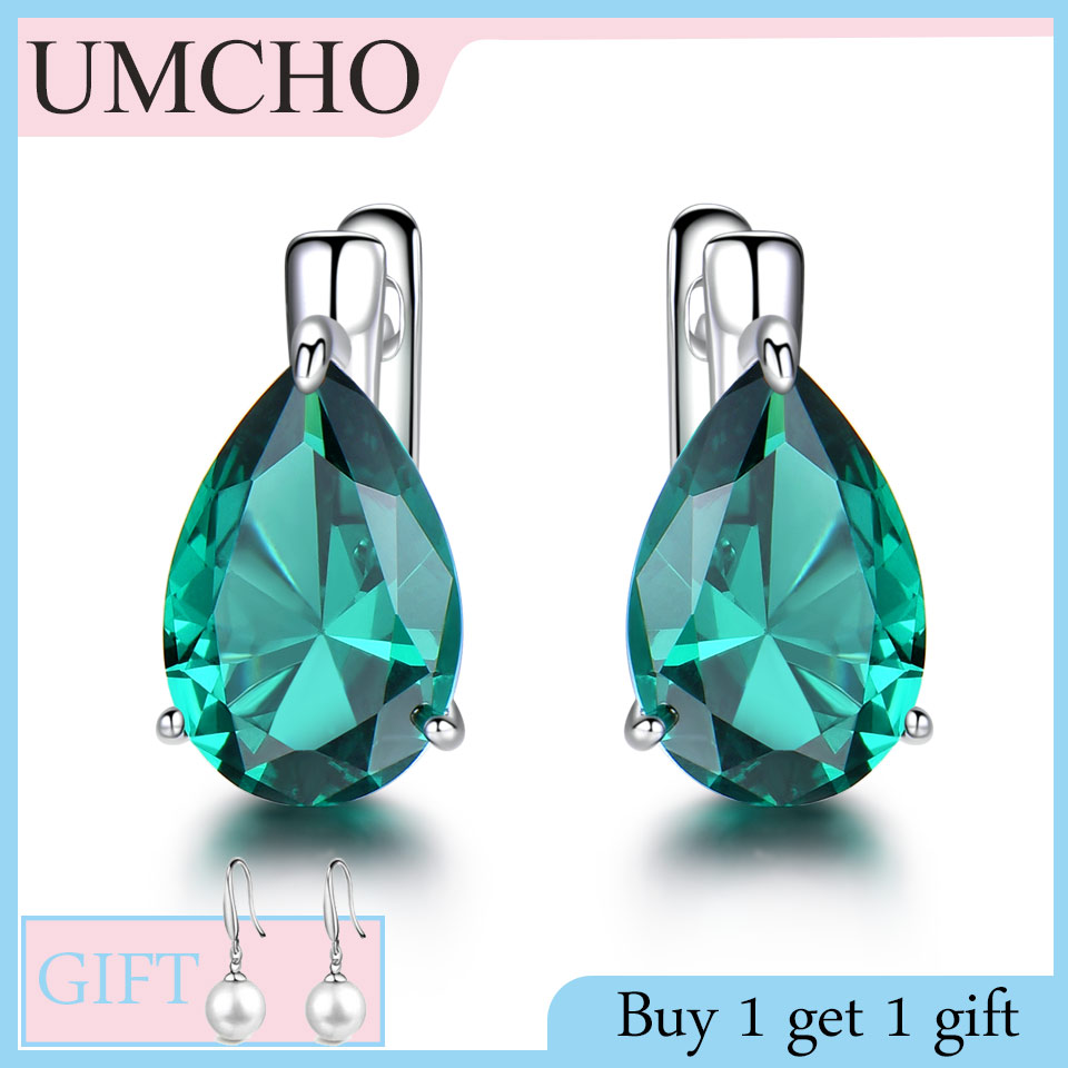 UMCHO Genuine 925 Sterling Silver Clip Earrings For Women Halo Green Created Emerald Gemstone Party Wedding Jewelry Gift For Mom