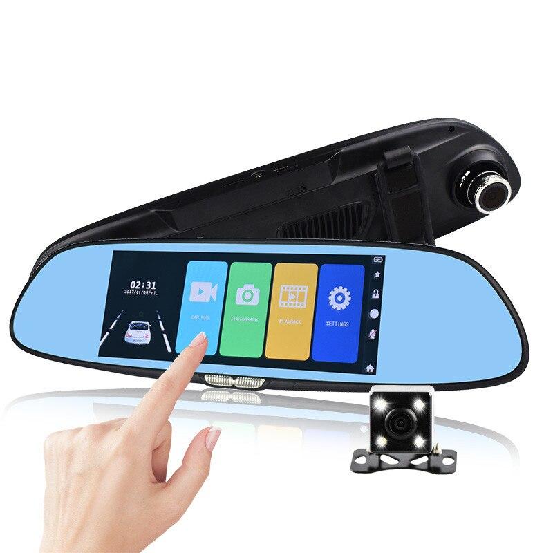 7 pouces écran tactile voiture DVR double lentille caméra rétroviseur enregistreur vidéo Dash Cam vision nocturne Auto caméra enregistreur Portable