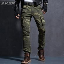 AKSR Mens Fashion Casual Cotton Cargo Pants Large Size Flexible Tactical Military Camo Pants Khaki Pants Man Trousers Joggers