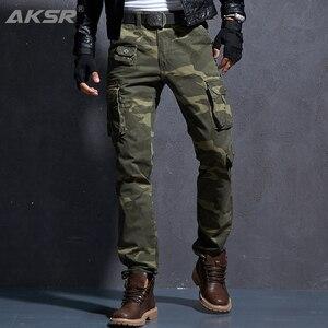 Image 1 - AKSR erkek moda rahat pamuk kargo pantolon büyük boy esnek taktik askeri kamuflajlı pantolon haki pantolon erkek pantolon Joggers