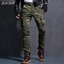 AKSR, moda informal para hombre, pantalones Cargo de algodón, pantalones de Camuflaje militar tácticos flexibles de talla grande, pantalones caqui, pantalones para hombre, Joggers