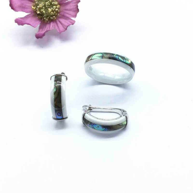 MAIKALE Vintage เซรามิคต่างหูแหวนเซรามิคเครื่องประดับชุดผู้หญิงสีดำสีขาวเงินเครื่องประดับงานแต่งงานของขวัญสุดหรู