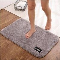 Polyester Bath Non slip Mat Home Decoration Carpet Doormat Solid Color Absorbent Soft Bathroom Mats Kitchen Shaggy Mat