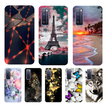 Case For Huawei Nova 7 5G 2020 Cases Bumper Silicone Transparent Phone Cover For Nova 7 Fundas 6.53inch Cute Summer Flower Coque image