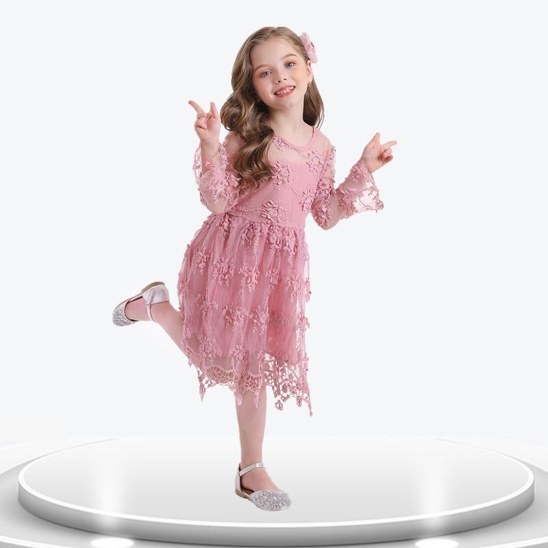 Vestido de princesa con bordado de encaje de flores sobrepuesto para niña, elegante vestido de fiesta para niña, vestidos rosas de tul para baile de graduación, 3-8T