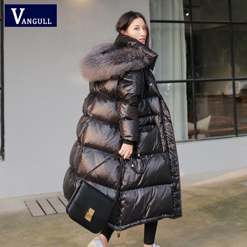 Vangull Black Glossy Women Winter Jacket Big Fur Collar Winter Coat Women Long Down   Parka   Lady Hooded   Parkas   Warm Cotton Jackets