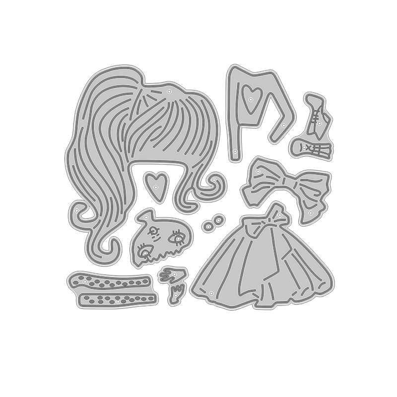 2020 새로운 뜨거운 소녀 금속 절단 죽을 스텐실 및 Scrapbooking 종이 호일에 대 한 사랑 3D 죽을 잘라 인형 공예 용품 스탬프 없음