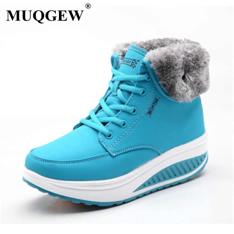 Women's Winter Plush Keep Warm Sneaker Female Platform Leather Body Shaping Slimming Shoes Lady Fitness Swing Sport Shoes