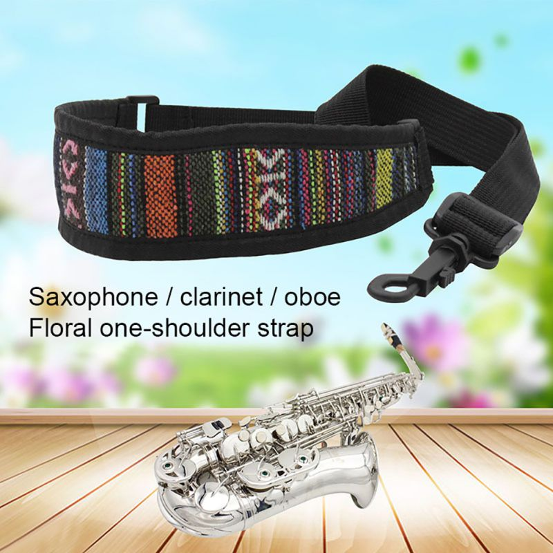 Ethnic Style Elastic Nylon Cotton Saxophone Neck Strap With Snap Hook Sax Harness