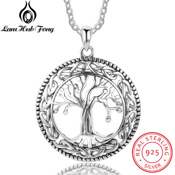 Vintage 925 Sterling Silver Tree of Life Round Pendant Necklace Women Silver Jewelry Birthday Gift for Grandma (Lam Hub Fong) eudora 925 sterling silver tree of life necklace cloud tree pendant fortitude design jewelry for women happy birthday gift d449