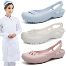 Lightweight Skidproof Summer Crocs Female Flat Sandals Nurse Shoes Medical Shoes EVA Clogs Hospital Scrub Slippers Breathable