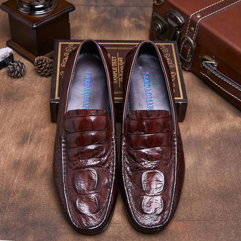 Genuine Leather Men Casual Shoes Brand Italian Gentleman Loafers Moccasins Breathable Slip on Driving Shoes B124